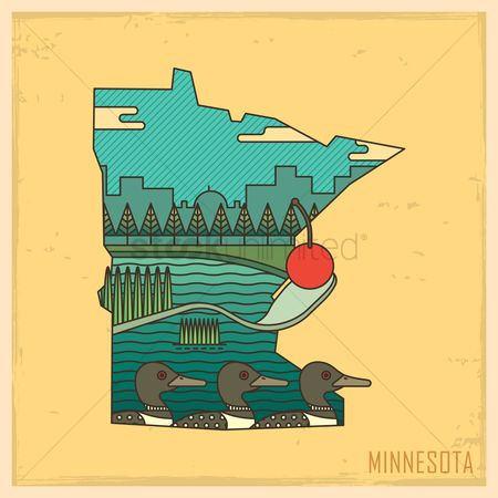 United states : Minnesota state map