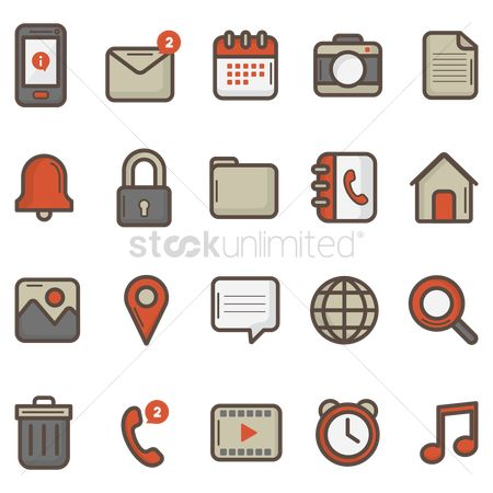 Communication : Mobile app icon set