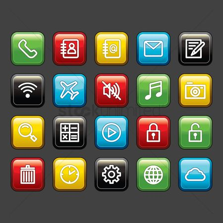 Address : Mobile app icon set