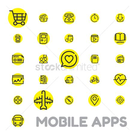 Icons news : Mobile apps icon set