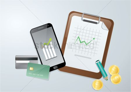 Profits : Mobile banking and financial concept