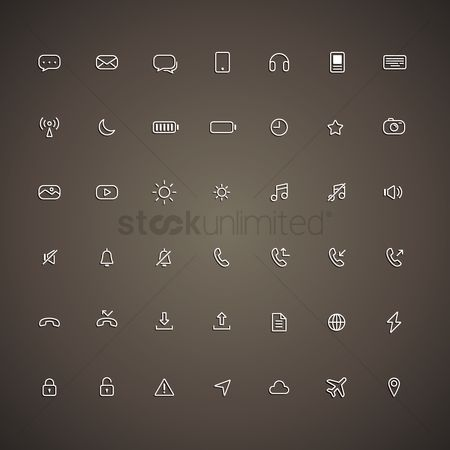 Linear : Mobile icon set
