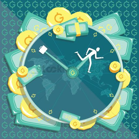 Time : Money theme clock