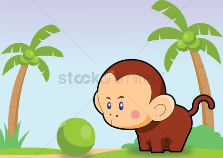 Grass background : Monkey over a sky background
