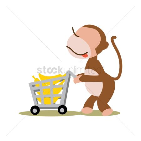 Food cart : Monkey with bananas in cart