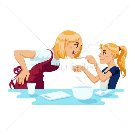 Soup : Mother and daughter cooking together