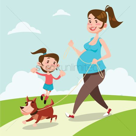 Activities : Mother and daughter walking their dog