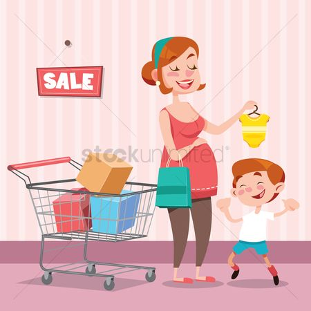 Handbags : Mother buying a baby romper for her baby
