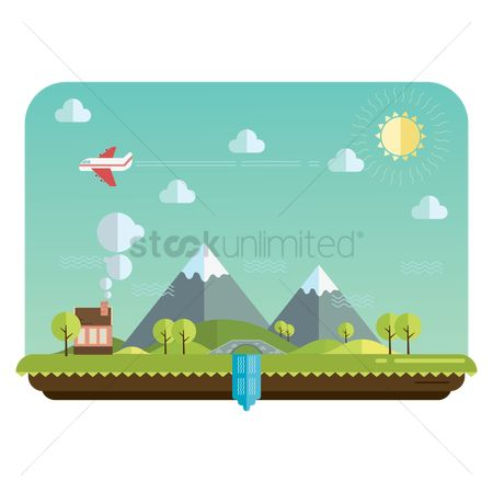 Airplane : Mountain landscape