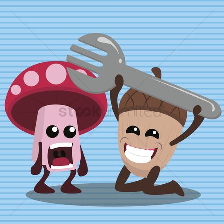 Fork lift : Mushroom and acorn with fork