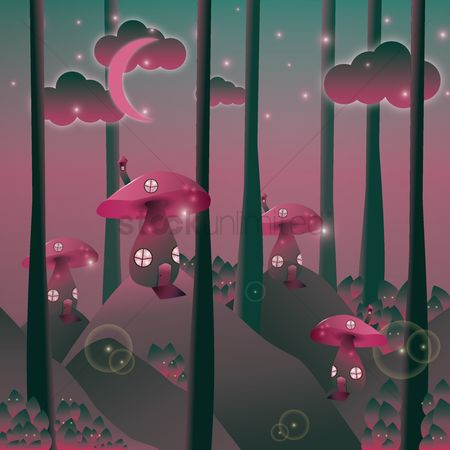 Moon : Mushroom houses wallpaper