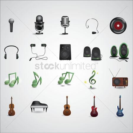 Microphones : Music and audio equipment set