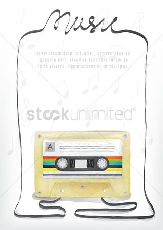 Melody : Music background with cassette in watercolor style