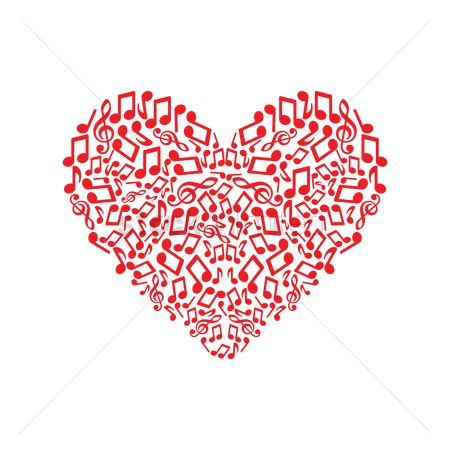 Red : Music notes forming a heart