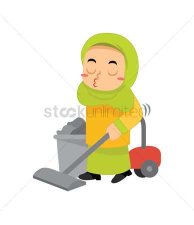 Chores : Muslim girl cleaning with vacuum