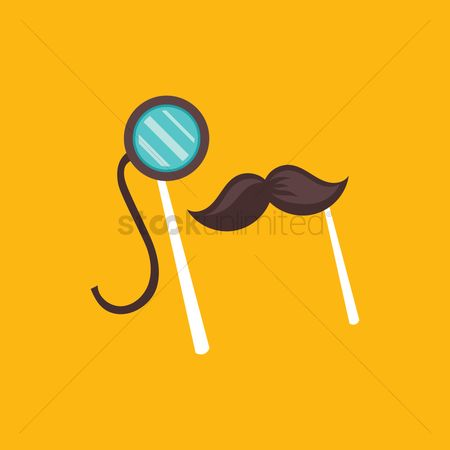 Moustache : Mustache and monocle on a stick