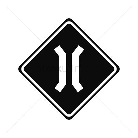 Narrow road ahead sign : Narrow bridge sign