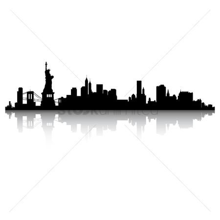 Towers : New york skyline silhouette
