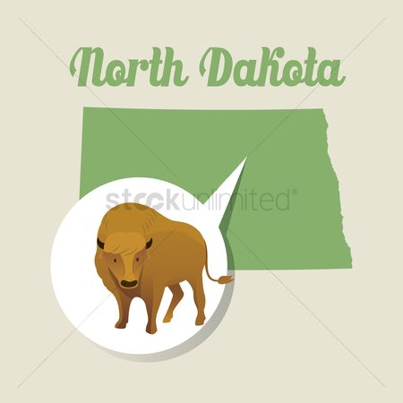 Dakota : North dakota map with bison icon