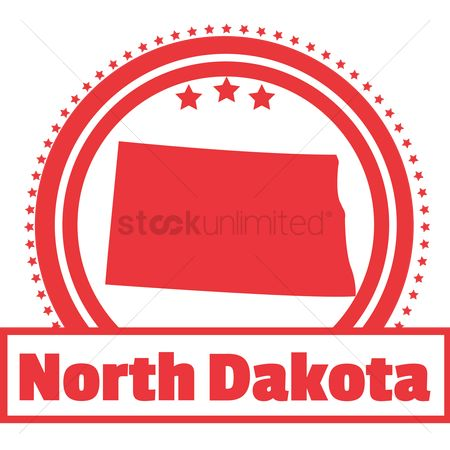 Dakota : North dakota state map label