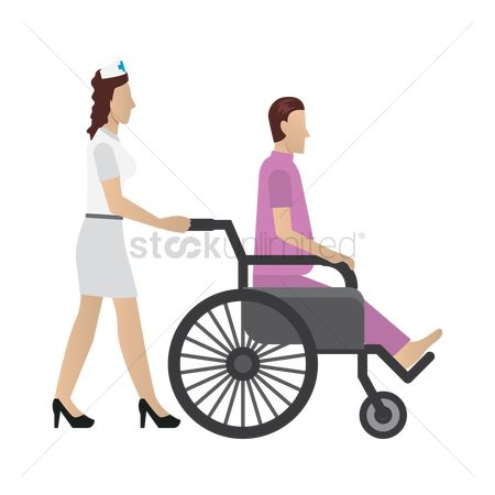 Wheelchair : Nurse attending to patient