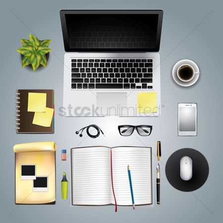Coffee : Office and desk supplies on white background