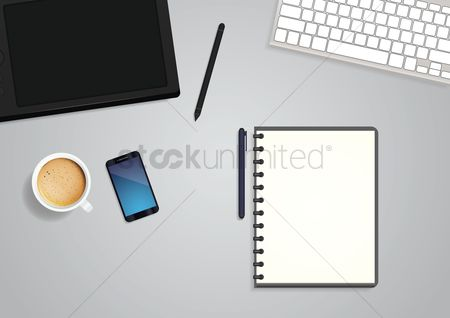 Phones : Office workspace flatlay