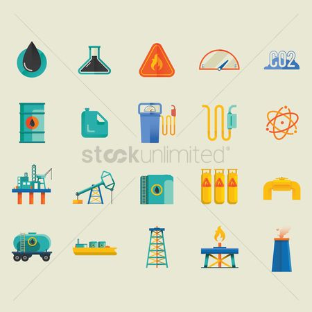 Fuel : Oil and gas industrial icons