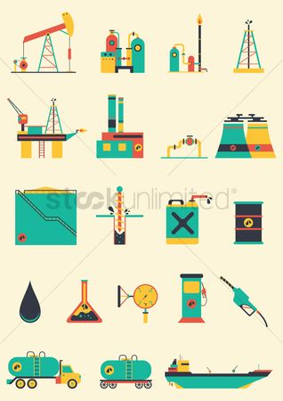 Temperatures : Oil and gas industry icons