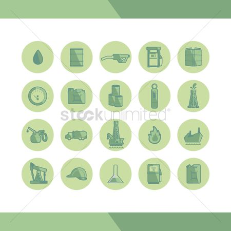 Gases : Oil gas and petroleum icon set