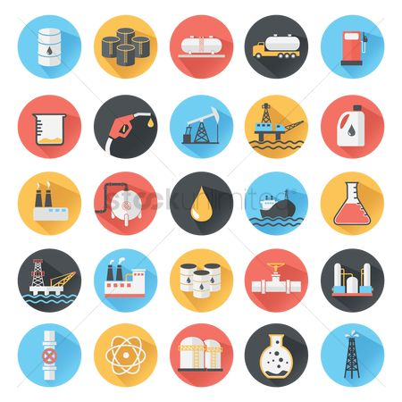 Lorries : Oil gas and petroleum icon set