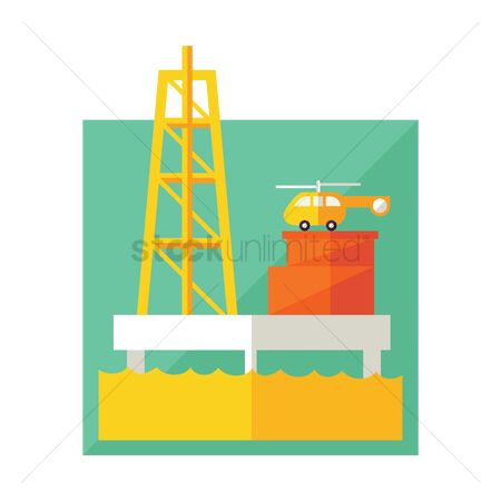 Helicopter : Oil rig with helicopter