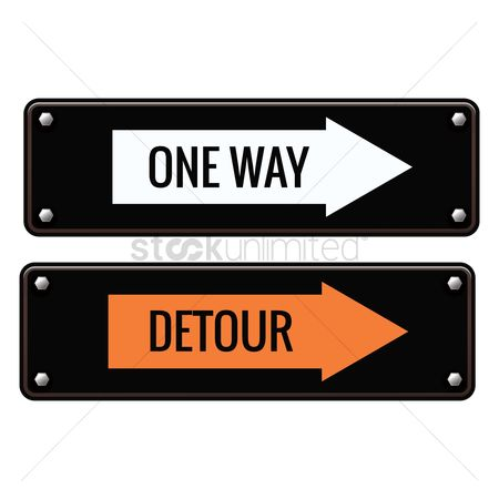 Caution : One way and detour road signs