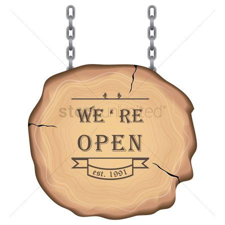 Wooden sign : Open sign
