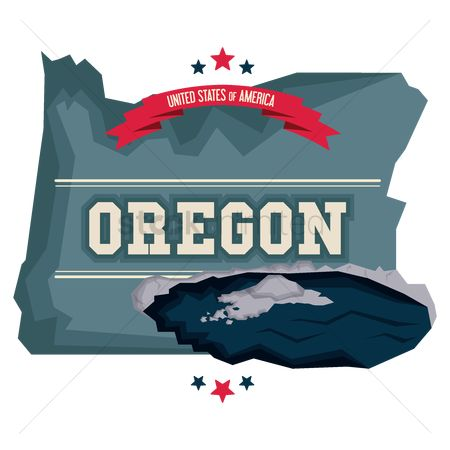 Oregon : Oregon map with crater lake