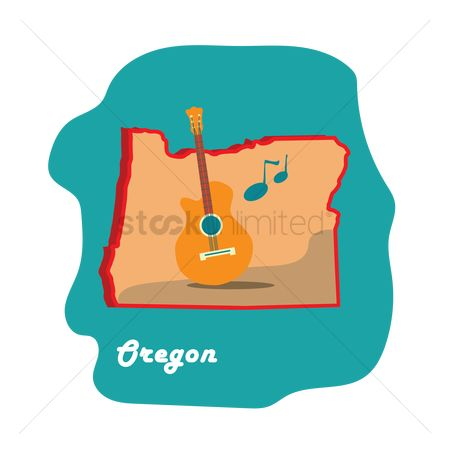 Oregon : Oregon state map with music