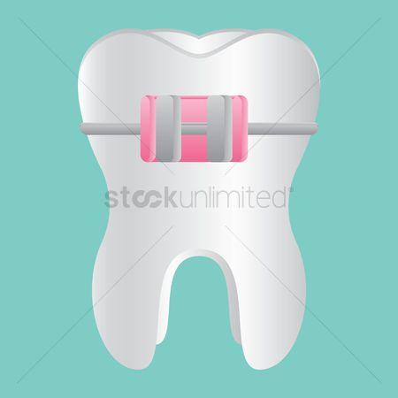 Tooth with braces : Orthodontics sign