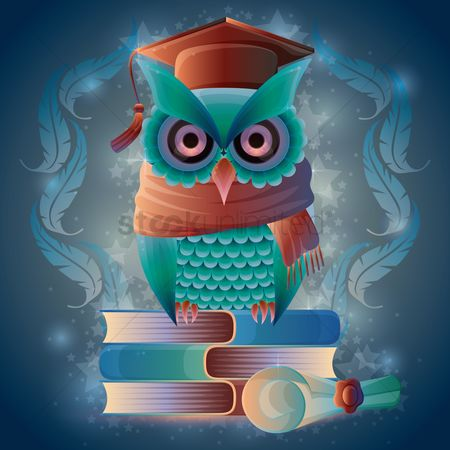 Learn : Owl sitting on books