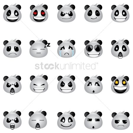 Cartoon : Panda bear expressions