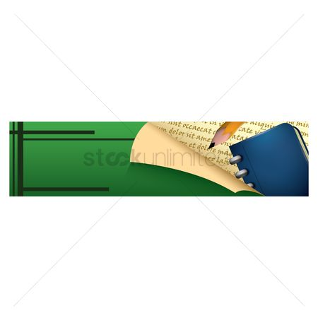 Educational banner : Pencil and diary on a banner
