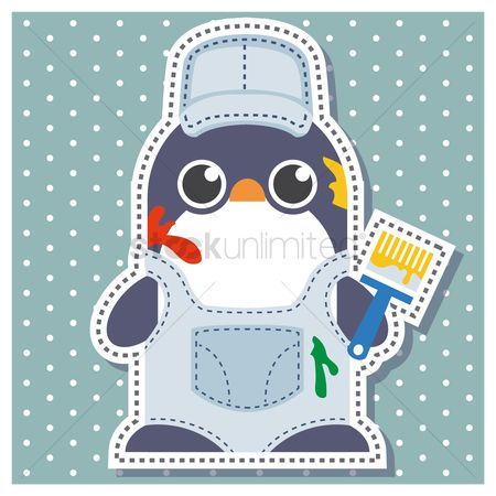Background : Penguin as a painter