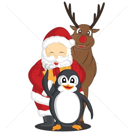 Penguins : Penguin  santa claus and rudolph the reindeer