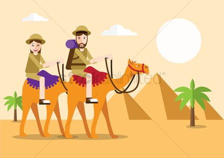 Recreation : People riding camel in desert