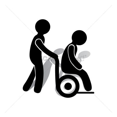 Wheelchair : Person in a wheelchair being helped