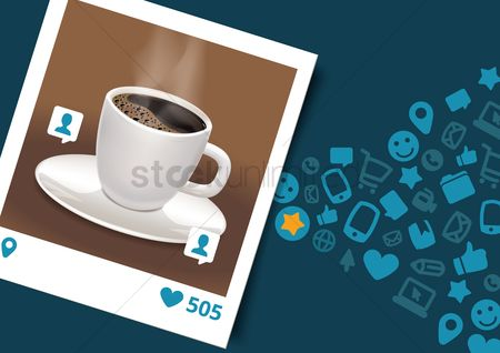 Heart shape : Photograph of coffee with social media icons