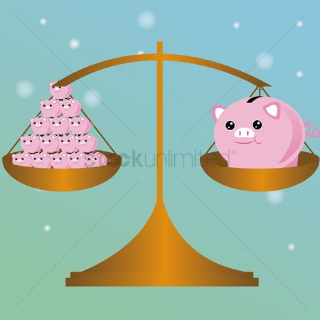Common balance : Piggy bank in balance