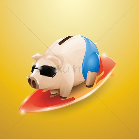 Surfboards : Piggy bank with surfboard