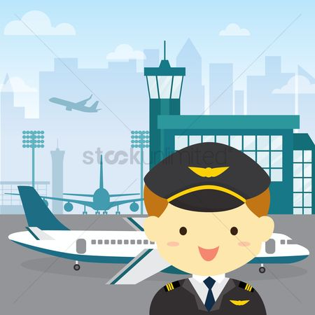 Aeroplanes : Pilot at airport