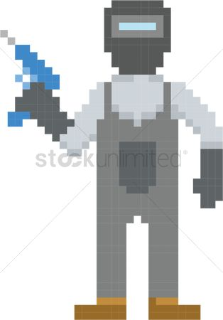 Contractor : Pixel art construction worker