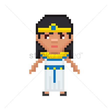 Headdress : Pixel art egyptian girl